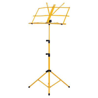 Adjustable Folding Sheet Music Tripod Stand Holder Heavy Duty Yellow+Case B0I2