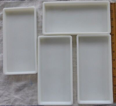 Vtg Lot 6 Milk Glass Dental Instrument Trays The American Cabinet Co Two Rivers