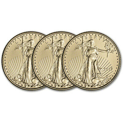 2019 American Gold Eagle 1/10 oz $5 - BU - Three 3 Coins