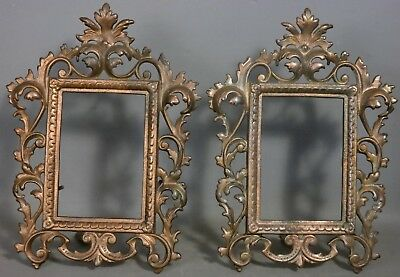 (2) Antique VICTORIAN CAST IRON Old ACANTHUS LEAF CABINET PHOTO Desk Shelf FRAME