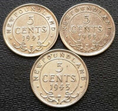 Lot of 3x Newfoundland Silver 5 Cent Coins - Dates: 1941, 1944, 1945