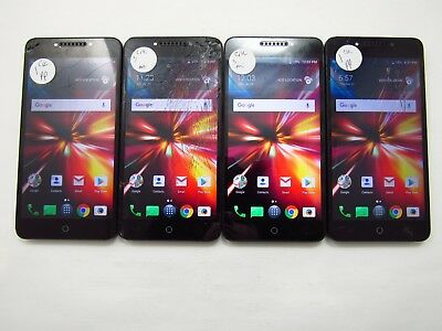 Lot of 4 Cracked Alcatel Pulsemix 5085C Cricket Check IMEI 5CR 946