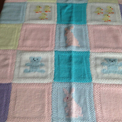 """Vintage Knitted Baby Quilt Blanket New Born Toddler Animals 31x38"""""""