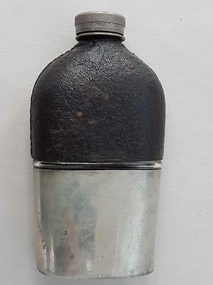 ANTIQUE LEATHER DRINKS DRINKING HIP FLASK 1900 case