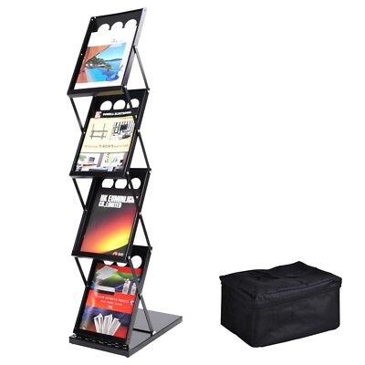 4 Pocket Magazine Display Holder Literature Rack Pop-up Folding Brochure Rack