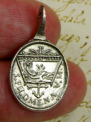 Antique 1805 Sanctuary of St. Philomena Vatican Relic Silver Hallmark Medal