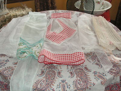 Vintage Aprons Lot Of 5 Aprons Hanky Apron Crochet Apron Dotted Swiss Apron Red