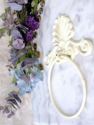 Antique White Bath Room Hand Towel Ring Holder Distressed Cast Iron 0170-11601
