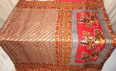 Yellow Red Pure Silk 4 yard Vintage Sari Saree GIFT Japan Buy It Now US #9EITH
