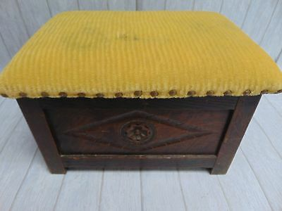 Antique Genuine Victorian Carved Oak Tudor Style FOOTSTOOL Storage Box - W74