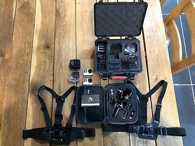 Two GoPro Hero 4 Black Cameras with accessories and Feyu G4S Gimbal