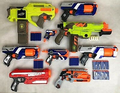 NERF Gun Job Lot Bundle Includes 9 Weapons & Free Ammo. Strongarm, Rayven & More
