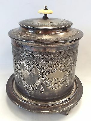 Vintage SILVER PLATED Biscuit Barrel With Ornate Decoration - B15