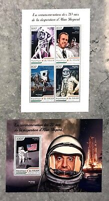 2 Niger Sheet Perforated With Space And Alan Shepard