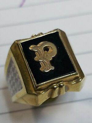 """10K Gold Filled Gainsboro Mens Initial """"p"""" Ring Old Vintage Art Deco Two Tone"""