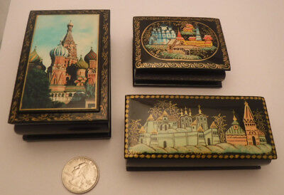 3 Vintage Russian Hand Painted Lacquer Hinged Box Boxes Estate Lot **