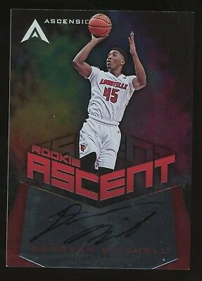 2017-18 Ascension Rookie Ascent Red Donovan Mitchell Jazz Rc Auto Autograph /75