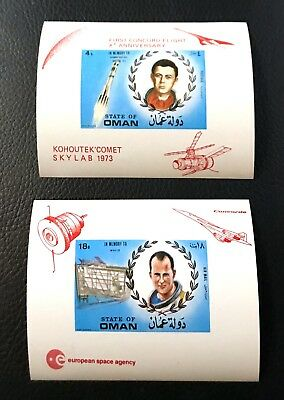 2 Oman Sheet Imperforated With Red Overprinted With Space And Astronauts
