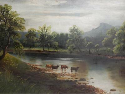 really old PAINTING oil landscape highland CATTLE RIVER