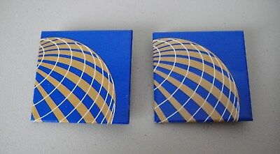 Continental Airlines Lapel Button / Badge - World Globe Design - Set of 2 - New