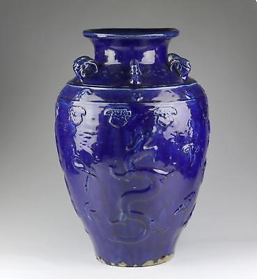 Very Large Rare Antique Chinese Qing Blue / Purple Guangdong Martaban Dragon Jar