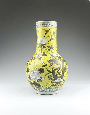 Fine Large Antique 19thC Chinese Qing Qianlong Mark Famille Jaune Porcelain Vase