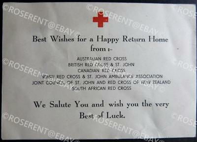 WW2  Prisoner of War  RED CROSS Parcel  Best Wishes for Welcome Home Message