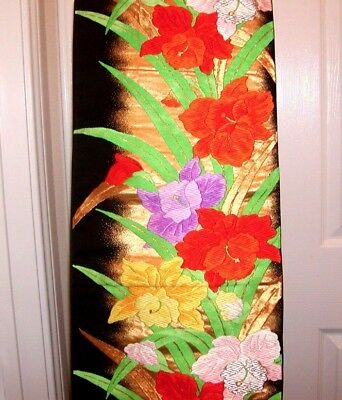 ANTIQUE JAPANESE GORGEOUS FUKURO SILK OBI w/ BEAUTIFUL CATTLEYA ORCHID FLOWERS !