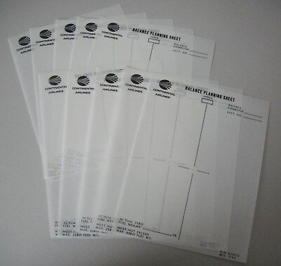 Continental Airlines -  Aircraft Balance Planning Sheet Lot of 10 - NEW