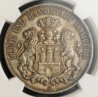 1899, Germany, Hamburg (Free Hanseatic City). Silver 5 Mark Coin. NGC MS-64!