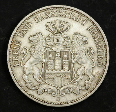 1912, Hamburg (Free Hanseatic City). Nice Silver 3 Mark Coin. XF-AU!