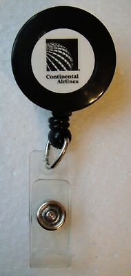 Continental Airlines Retractable Lapel / Pocket Clip-On I.D. Lanyard - NEW
