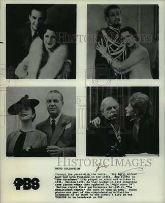 Press Photo Acting duo Alfred Lunt & Lynn Fontanne profiled on PBS Television