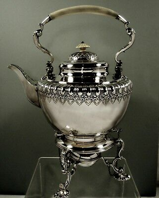 English Sterling Tea Kettle & Stand   1845  MacKenzie  -  101 Ounces