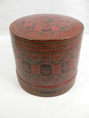 Burmese Asian Animal Symbol Red Lacquer Hand Painted Betel Box