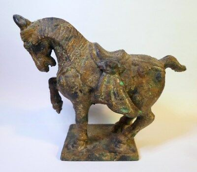 """Vintage TANG WAR HORSE FIGURINE Cast Iron Made in Japan Some Gilt Trim 5"""" Tall"""