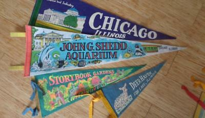 4 Vintage Chicago Pennants  MS&D  Shedd Aquarium ,The Dells & Fox Lake  10 - 30""
