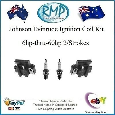 Aftermarket New Ignition Coil Kit Johnson Evinrude 6hp-thru-60hp # R 584561
