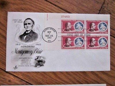 Upu Postal Union Postmaster  Blair Under Lincoln Plate#block Airmail 1963 Fdc