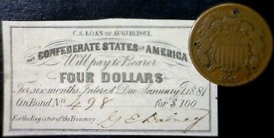 1861 Civil War CONFEDERATE $4 CSA Interest Note + 1865 TWO CENT 2c Coin  NO RES.