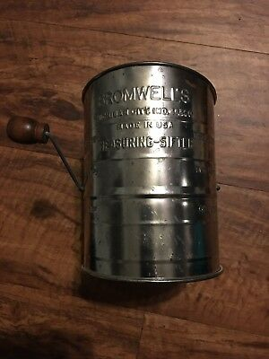 Vintage/Antique BROMWELL'S 3-cup Flour Measuring-Sifter w/Wooden Handle