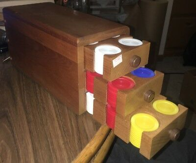 Older Wooden 3 Drawere Poker Chip Box With Poker Chips