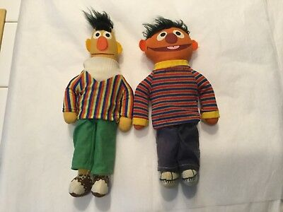 Vintage Knickerbocker Bert and Ernie rag dolls with  painted fabric faces