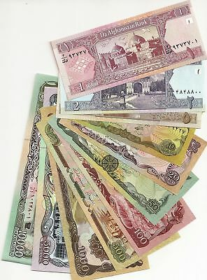 Afghanistan 11 Notes Uncirculated 1 - 10,000 Afghanis