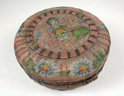 Betty-Lou Collection Antique RARE Painted Chinese Sewing Tea Basket pg 67 csb120