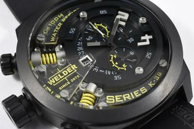 NEW w/ Tags Welder K38 702 by U-boat Watch Chronograph BLACK Ion Plated Yellow