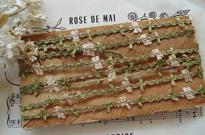 """18"""" Antique Vtg French Taupe Metallic Ribbon Work Flowers Rococo Rosette Trim"""