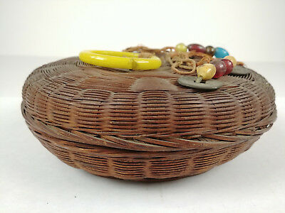 Sm ANTIQUE Chinese Sewing Basket Betty-Lou Collection Coins Beads Tassels 121