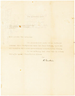 Albert Einstein 1937 Typed Letter Signed - To A Jewish Refugee - Great Autograph