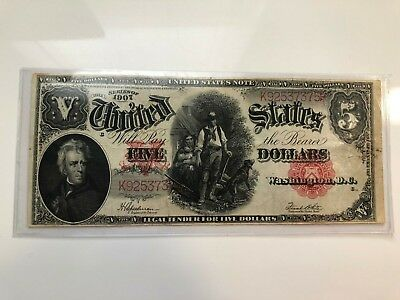 1907 Large Note RED SEAL $5 Dollar Bill, Woodcutter, Andrew Jackson.